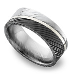 Sterling Silver Inlay Men's Wedding Ring in Damascus Steel | Thumbnail 01
