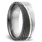 Sterling Silver Inlay Men's Wedding Ring in Damascus Steel | Thumbnail 02