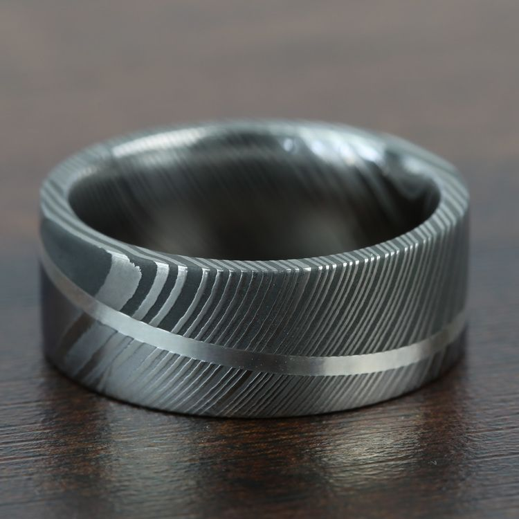 Sterling Silver Inlay Men's Wedding Ring in Damascus Steel   03