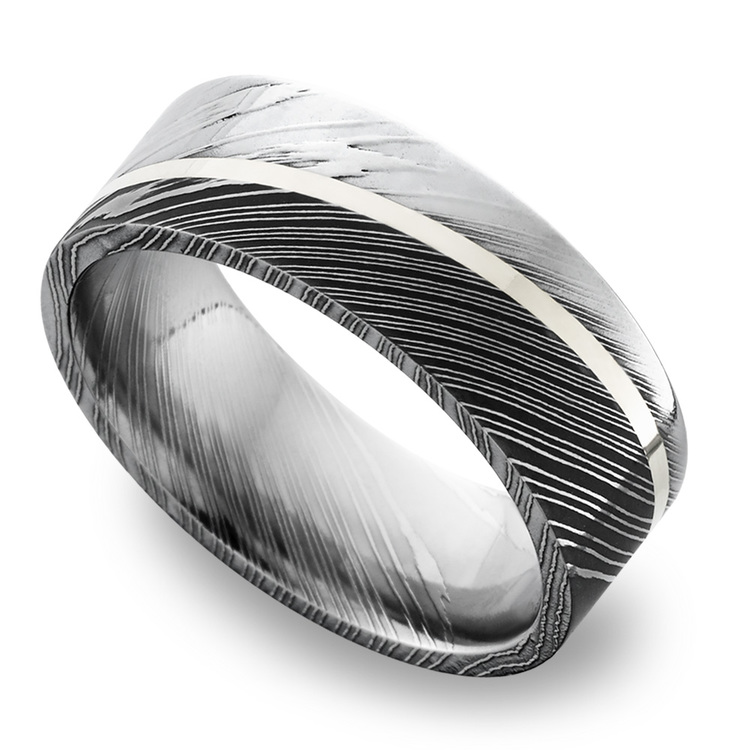 Sterling Silver Inlay Men's Wedding Ring in Damascus Steel | 01