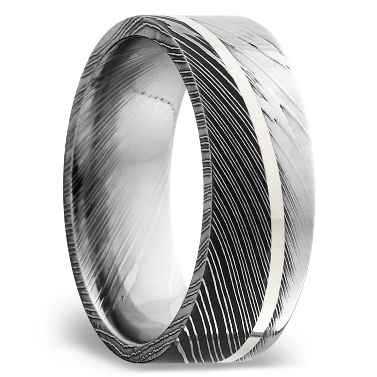 Sterling Silver Inlay Men's Wedding Ring in Damascus Steel | 02