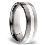 Sterling Silver Inlay Men's Wedding Ring in Titanium (7mm) | Thumbnail 02
