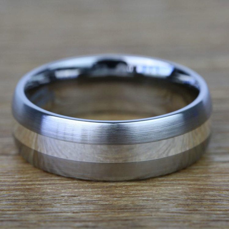 Sterling Silver Inlay Men's Wedding Ring in Titanium (7mm) | 03