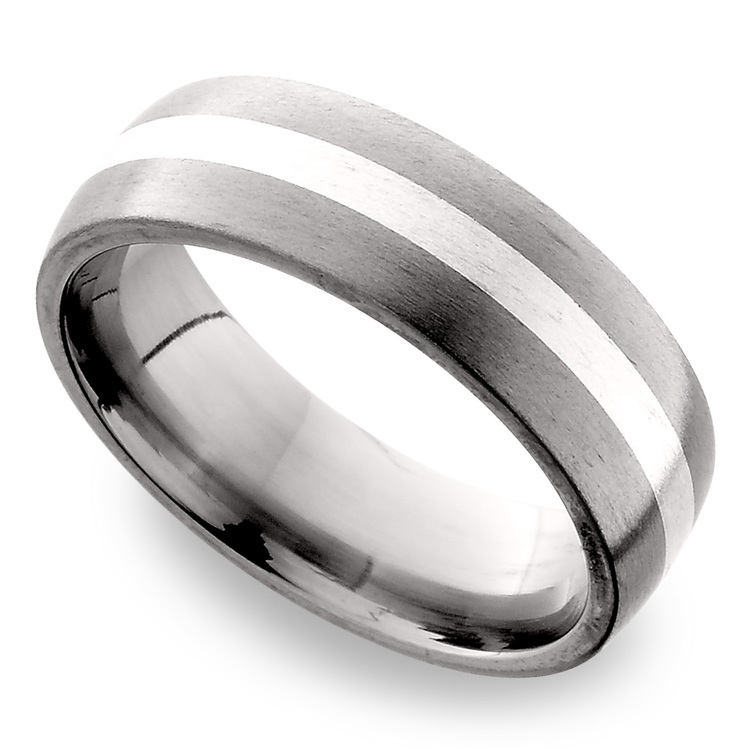 Sterling Silver Inlay Men's Wedding Ring in Titanium (7mm) | 01