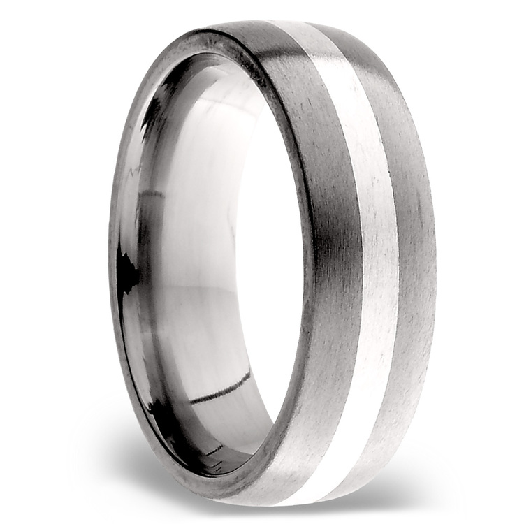 Sterling Silver Inlay Men's Wedding Ring in Titanium (7mm) | 02
