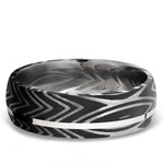 Sterling Silver Inlay Zebra Men's Wedding Band in Damascus Steel | Thumbnail 03
