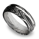 Sterling Silver Inlay Zebra Men's Wedding Band in Damascus Steel | Thumbnail 01