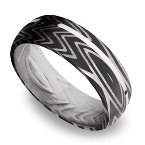 Sterling Silver Inlay Zebra Men's Wedding Band in Damascus Steel