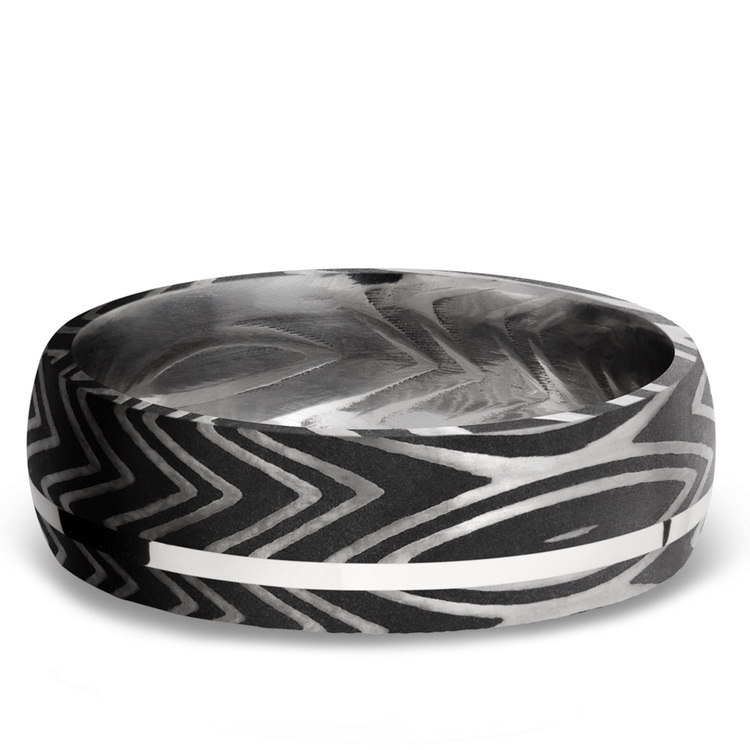 Sterling Silver Inlay Zebra Men's Wedding Band in Damascus Steel | 03