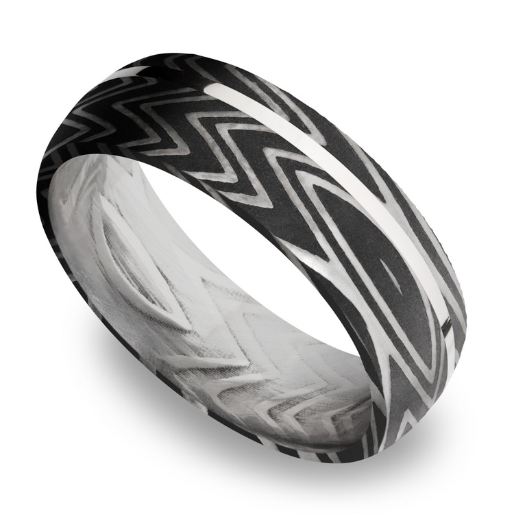 Sterling Silver Inlay Zebra Men's Wedding Band in Damascus Steel | 01