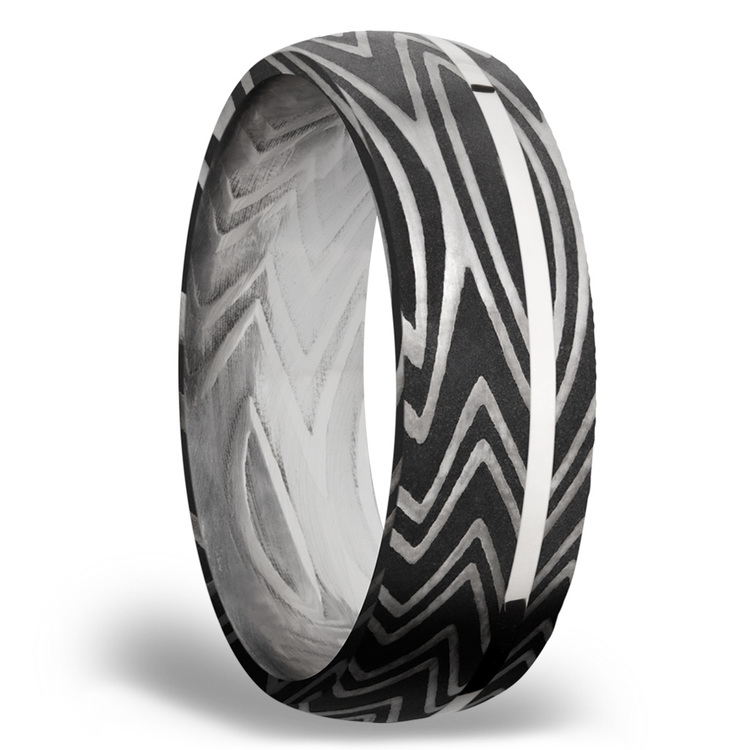 Sterling Silver Inlay Zebra Men's Wedding Band in Damascus Steel | 02