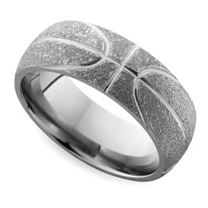 Stipple Finish Basketball Pattern Men's Wedding Ring in Titanium