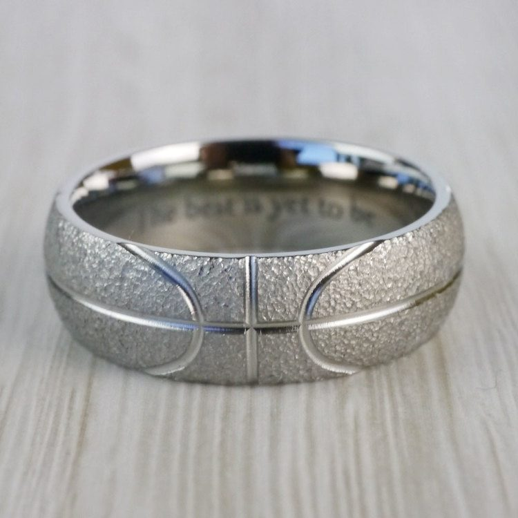 Stipple Finish Basketball Pattern Men's Wedding Ring in Titanium | 03