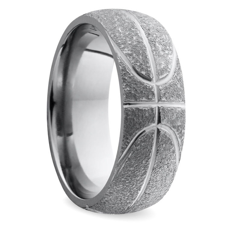 Stipple Finish Basketball Pattern Men's Wedding Ring in Titanium | 02