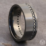 Swags to Ridges - Zirconium Mens Band with Black Diamonds | Thumbnail 05
