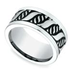 Double Helix Swirl Men's Wedding Ring in Blackened Cobalt | Thumbnail 01