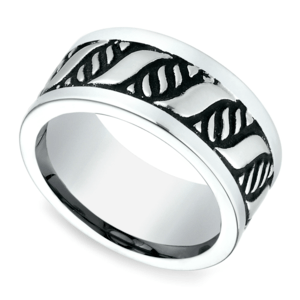 Double Helix Swirl Men's Wedding Ring in Blackened Cobalt