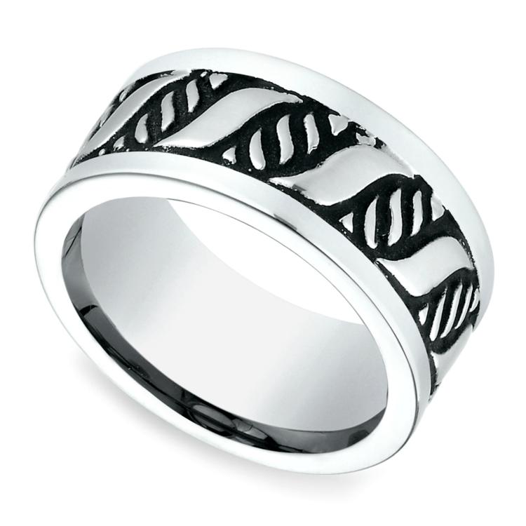 Double Helix Swirl Men's Wedding Ring in Blackened Cobalt | 01