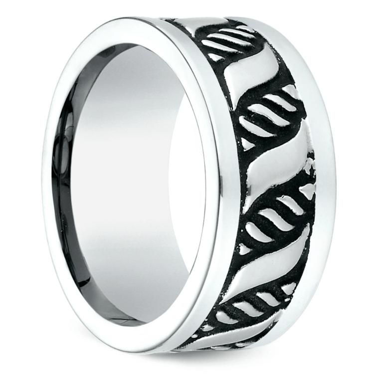 Double Helix Swirl Men's Wedding Ring in Blackened Cobalt | 02