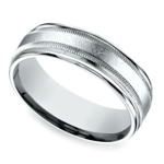 Swirl Milgrain Men's Wedding Ring in Platinum | Thumbnail 01