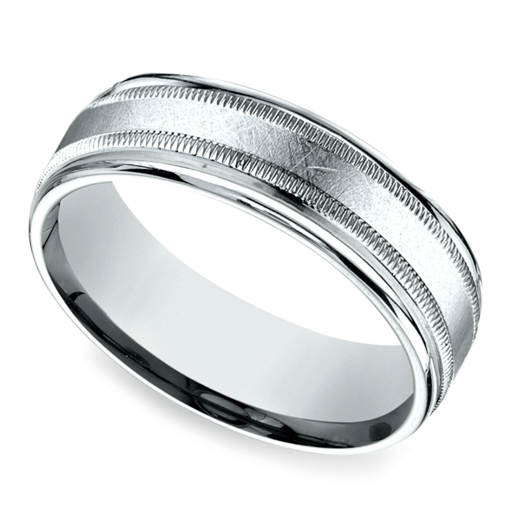 Swirl Milgrain Men's Wedding Ring in Platinum | 01
