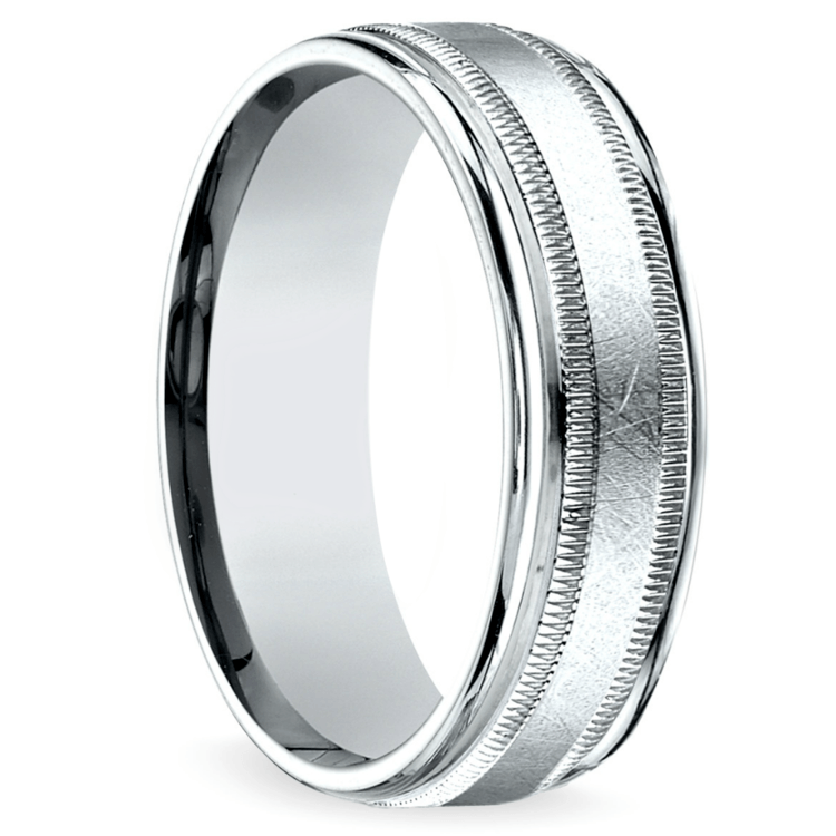 Swirl Milgrain Men's Wedding Ring in Platinum | 02