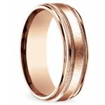 Swirl Milgrain Men's Wedding Ring in Rose Gold | Thumbnail 02