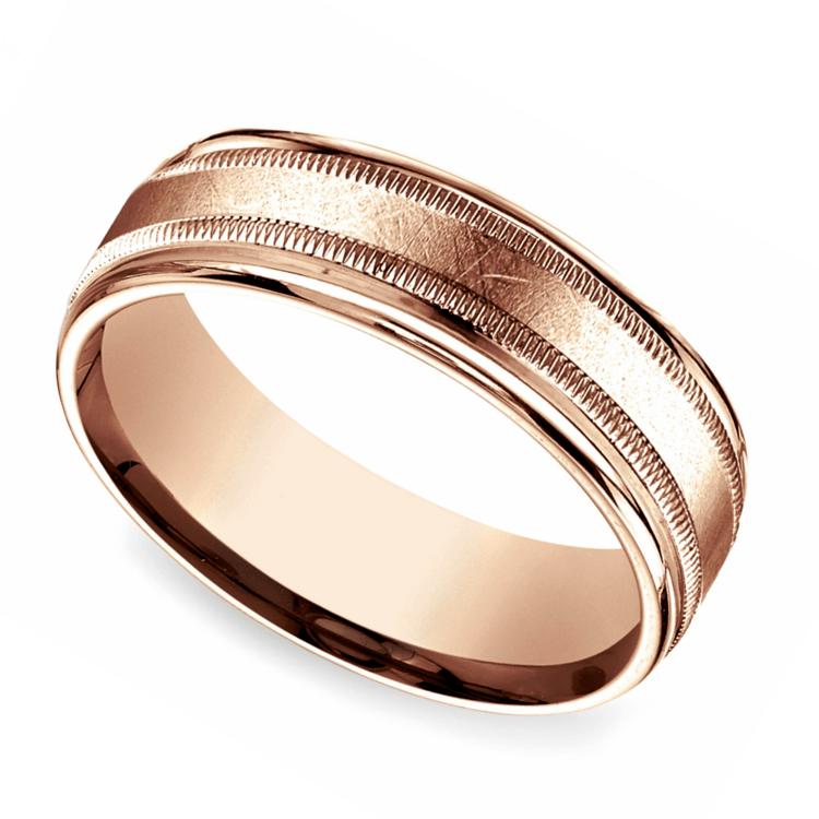 Swirl Milgrain Men's Wedding Ring in Rose Gold | 01