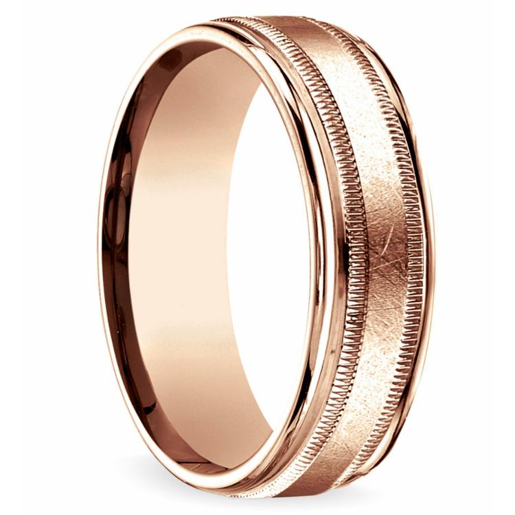 Swirl Milgrain Men's Wedding Ring in Rose Gold | 02