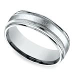 Swirl Milgrain Men's Wedding Ring in White Gold | Thumbnail 01