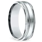 Swirl Milgrain Men's Wedding Ring in White Gold | Thumbnail 02