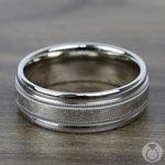 Swirl Milgrain Men's Wedding Ring in White Gold | Thumbnail 03