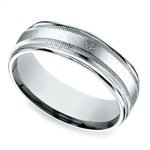 Swirl Milgrain Men's Wedding Ring in White Gold