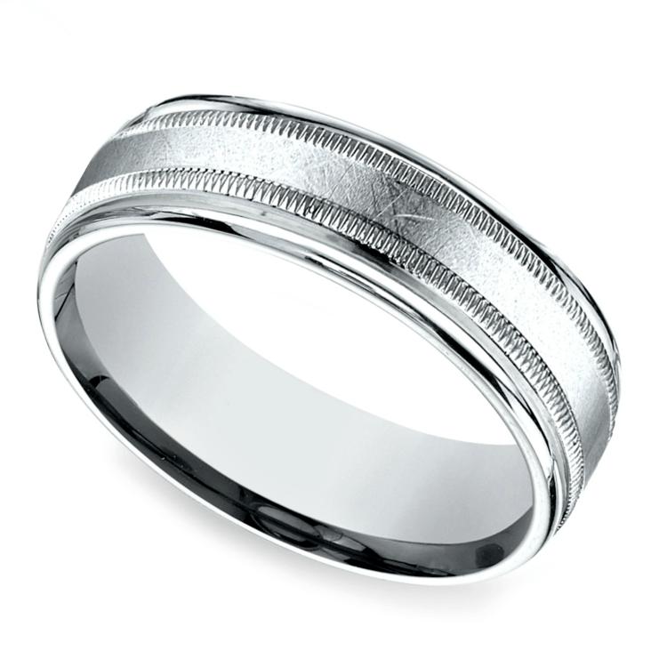 Swirl Milgrain Men's Wedding Ring in White Gold | 01