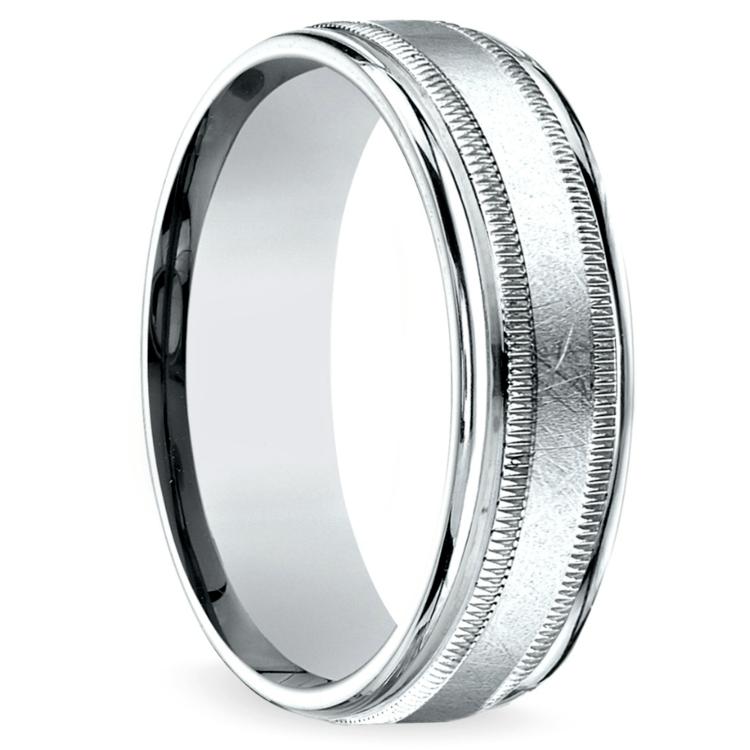 Swirl Milgrain Men's Wedding Ring in White Gold | 02