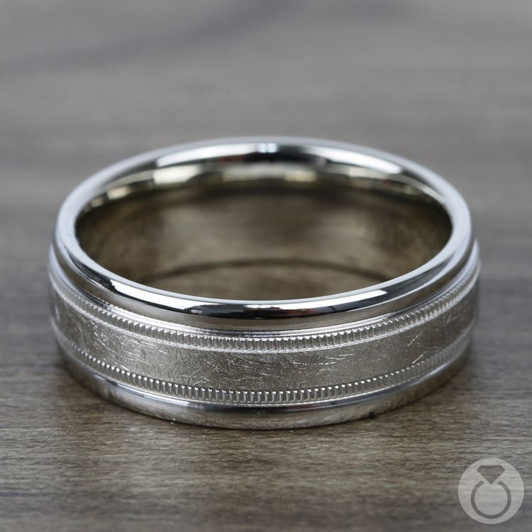 Swirl Milgrain Men's Wedding Ring in White Gold | 03