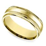 Swirl Milgrain Men's Wedding Ring in Yellow Gold | Thumbnail 01