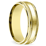 Swirl Milgrain Men's Wedding Ring in Yellow Gold | Thumbnail 02
