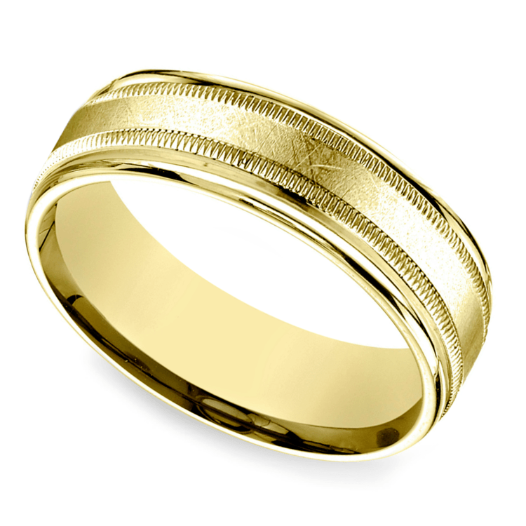Swirl Milgrain Men's Wedding Ring in Yellow Gold | 01