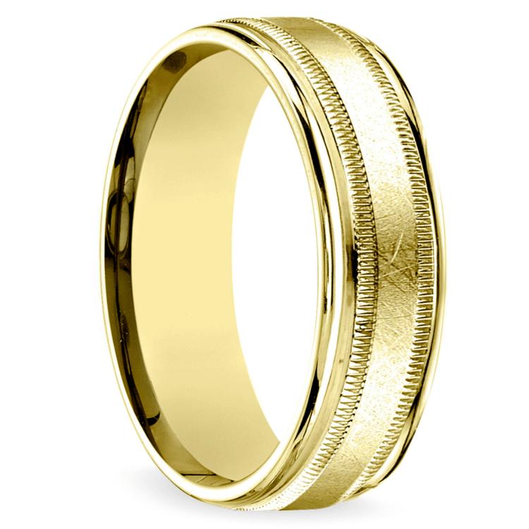 Swirl Milgrain Men's Wedding Ring in Yellow Gold | 02