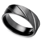 Swirl Pattern Men's Wedding Ring in Black Titanium  | Thumbnail 01