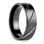 Swirl Pattern Men's Wedding Ring in Black Titanium  | Thumbnail 02