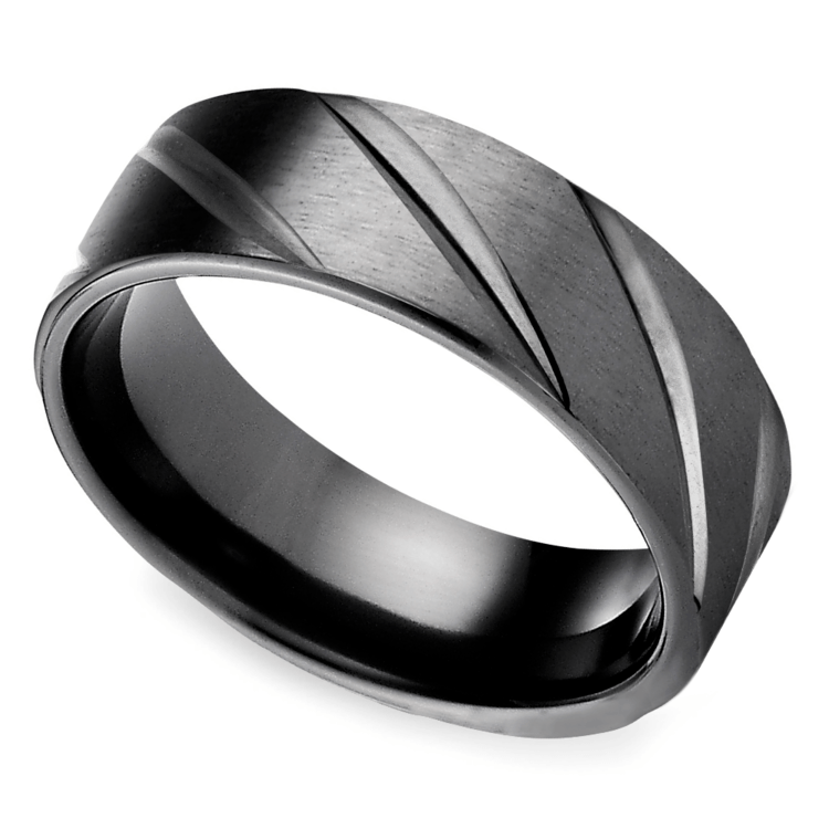 Swirl Pattern Men's Wedding Ring in Black Titanium  | 01