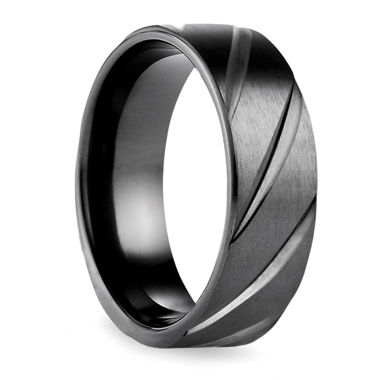 Swirl Pattern Men's Wedding Ring in Black Titanium  | 02