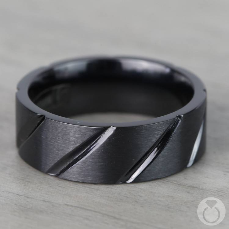 Swirl Pattern Men's Wedding Ring in Black Titanium  | 03