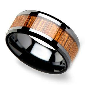 Teak Wood Inlay Men's Beveled Ring in Black Ceramic (10mm)