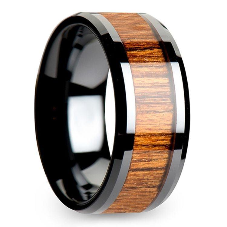 Teak Wood Inlay Men's Beveled Ring in Black Ceramic (10mm) | 02