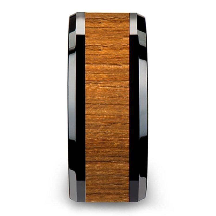 Teak Wood Inlay Men's Beveled Ring in Black Ceramic (10mm) | 03