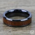 Teak Wood Inlay Men's Beveled Ring in Black Ceramic (6mm)   Thumbnail 04