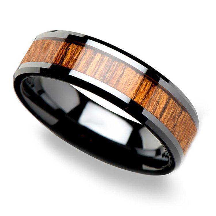 Teak Wood Inlay Men's Beveled Ring in Black Ceramic (6mm) | 01